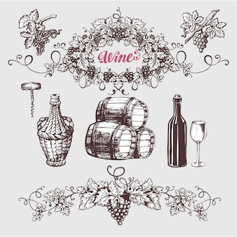 Zestaw vintage wina i wina.