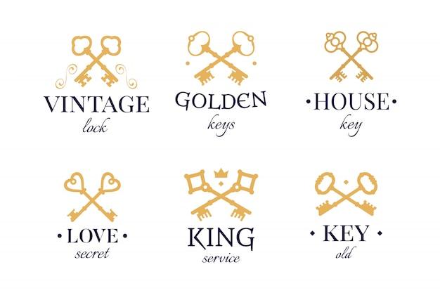 Zestaw vintage złote klucze