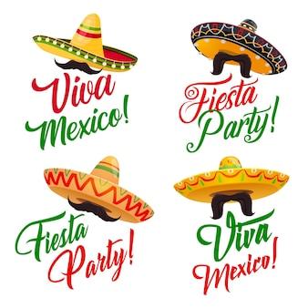 Zestaw viva mexico z czapkami sombrero z meksykańskiej świątecznej fiesty i wąsami lub wąsami, ozdobiony etnicznymi ornamentami w kolorach flagi meksyku. projekt karty z pozdrowieniami, festiwalu lub karnawału