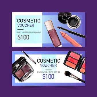 Zestaw voucherów kosmetycznych z kredką, pomadką, paletą brwi