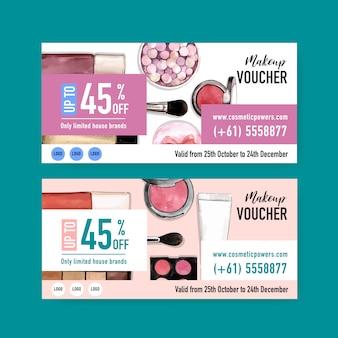Zestaw voucherów kosmetycznych z pędzelkiem, podkładem, szminką