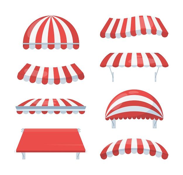 Zestaw w paski z baldachimem. modne czerwono-białe markizy chronią przed deszczem i słońcem niezbędne akcesoria kawiarnia detaliczny element architektury cyrkowy teatr letni.