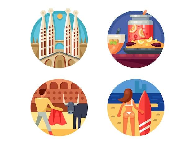 Zestaw wakacji w hiszpanii. barcelona i walka byków. ilustracje wektorowe