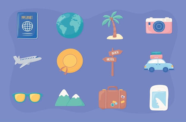 Zestaw wakacyjnych podróży