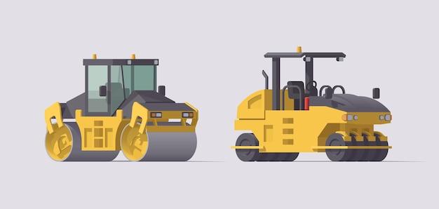 Zestaw walców drogowych do asfaltu. ilustracja. kolekcja
