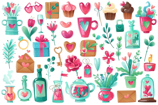 Zestaw walentynki. świetny zestaw na walentynkowe wakacje miłosne. pojedyncze obiekty w stylu kreskówki. w kolorze zimnego różu i niebieskiego.