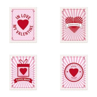 Zestaw walentynki znaczki pocztowe serca, kolekcja pocztówek, koperta pocztowa