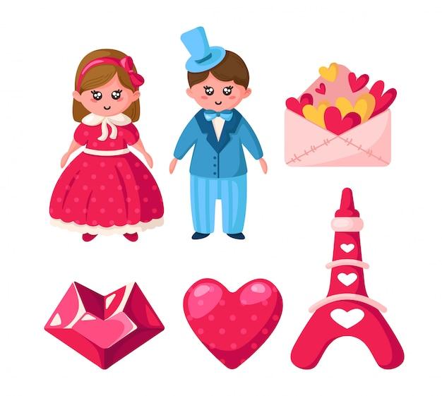 Zestaw walentynkowy, rysunkowa kawaii dziewczyna i chłopak, kryształowe serce, koperta, wieża eiffla