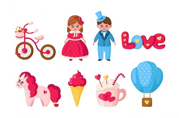 Zestaw walentynkowy, rysunkowa kawaii dziewczyna i chłopak w retro ubraniach, urocze zwierzę - jednorożec, romantyczne rzeczy
