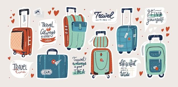 Zestaw walizek na białym tle. torby podróżne i zestaw naklejek cytatów