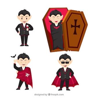 Zestaw wampirów w płaskim stylu