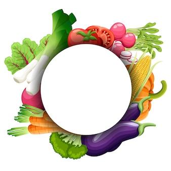 Zestaw warzyw akwarela. szablon dla twojego. ilustracja. okrąg.