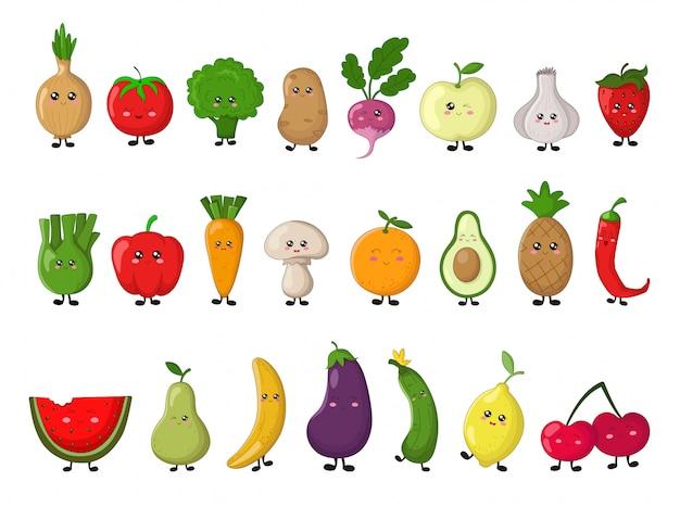 Zestaw warzyw i owoców kawaii. pojedyncze elementy