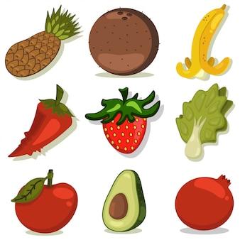 Zestaw warzyw i owoców kreskówka na białym tle