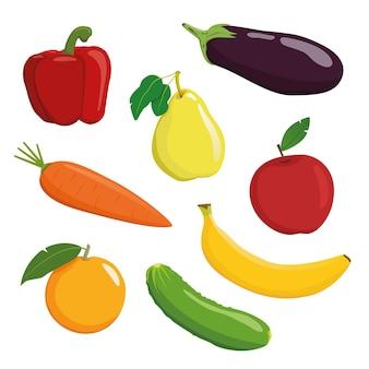 Zestaw warzyw i owoców na białym tle papryka gruszka bakłażan marchew jabłko
