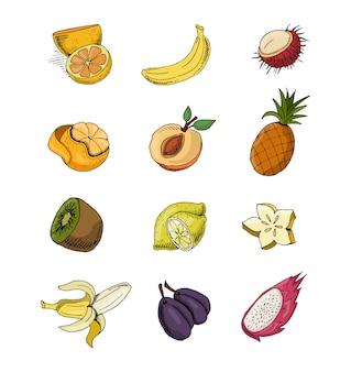 Zestaw warzyw i owoców na białym tle