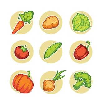 Zestaw warzyw kreskówek