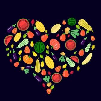 Zestaw warzyw w formie serca na ciemny niebieski