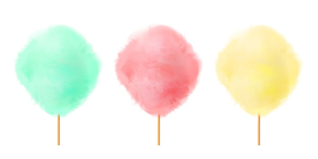 Zestaw waty cukrowej. realistyczne zielone, różowe, żółte bawełniane cukierki na drewnianych patyczkach.