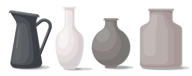 Zestaw wazonów o różnych kształtach i kolorach.