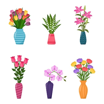 Zestaw wazonów z kwiatami. kolekcja bukietów kwiatów w wazonach, ilustracji wektorowych