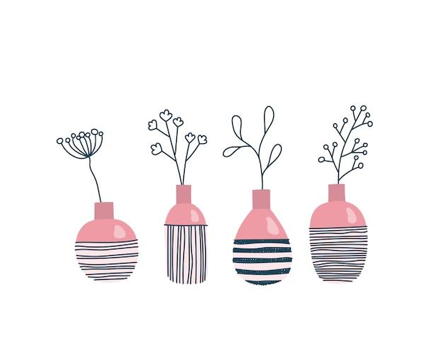 Zestaw wazonów z kwiatami, skandynawski wystrój domu