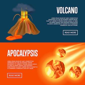 Zestaw web banery wybuch wulkanu i meteoryt apokalipsy