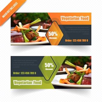 Zestaw wegetariański web banner dla restauracji