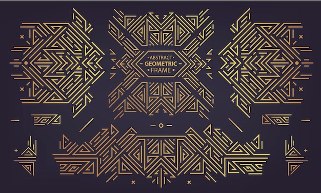 Zestaw wektor art deco złote obramowania, ramki. kreatywne szablony w stylu lat 20-tych. modna okładka, plakat graficzny, broszura gatsby, projekt, opakowanie i branding. geometryczne kształty, ozdoby, element