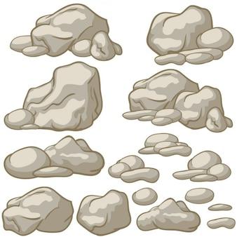 Zestaw wektor cartoon kamienie