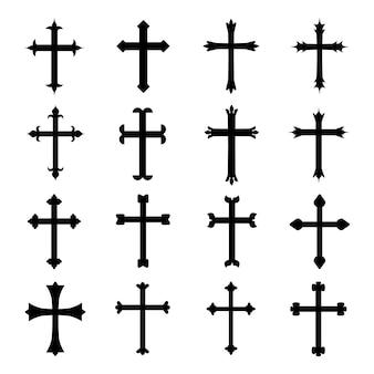 Zestaw wektor chrześcijańskiej krzyż symbol