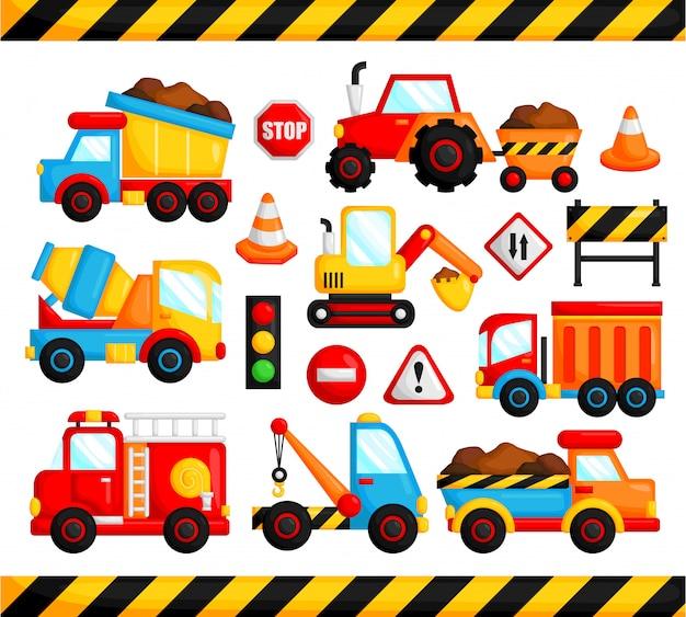 Zestaw wektor ciężarówka budowlane