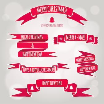Zestaw wektor czerwonych wstążek z życzeniami świątecznymi i noworocznymi