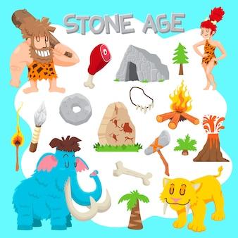 Zestaw wektor epoki kamienia