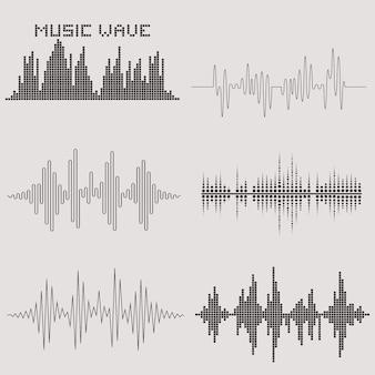 Zestaw wektor fal dźwiękowych