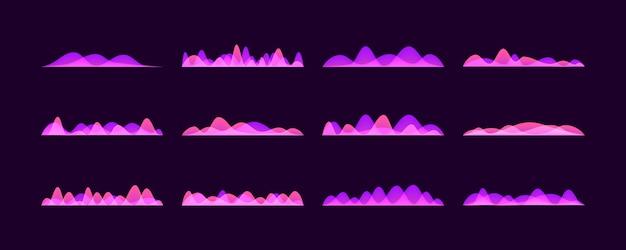 Zestaw wektor fale dźwiękowe, neon kolorowy cyfrowy pasek muzyki.