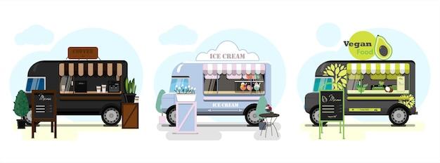 Zestaw wektor food trucków z pączkami pizzy i lodami płaska ilustracja wektorowa fast food