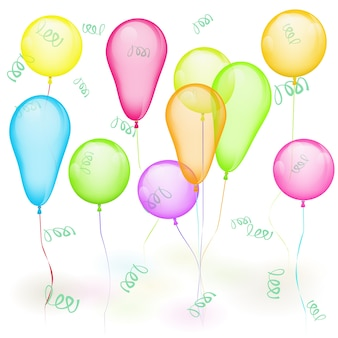 Zestaw wektor kolorowych balonów na białym tle. żółty, czerwony, zielony, niebieski