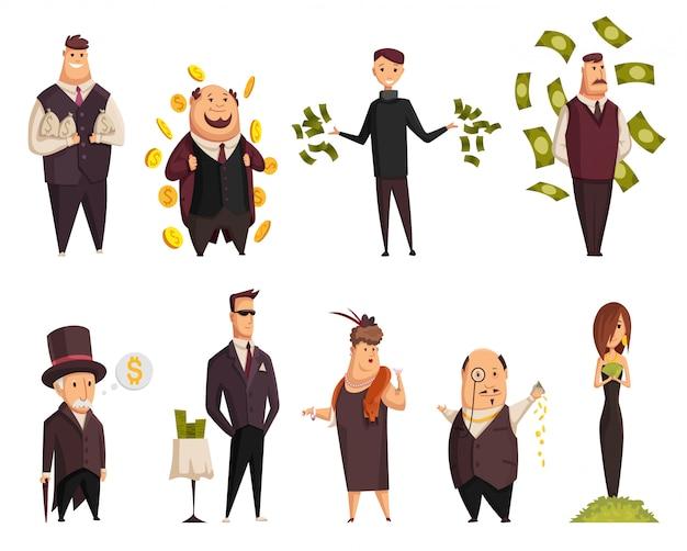 Zestaw wektor kreskówka bogatych ludzi. szczęśliwy super bogaty odnoszący sukcesy biznesmeni i bizneswoman