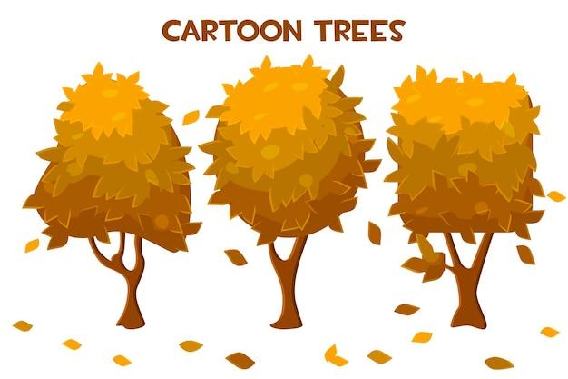 Zestaw wektor kreskówka na białym tle jesienne drzewa i opadanie liści. kolekcja suchych drzew pomarańczowych.