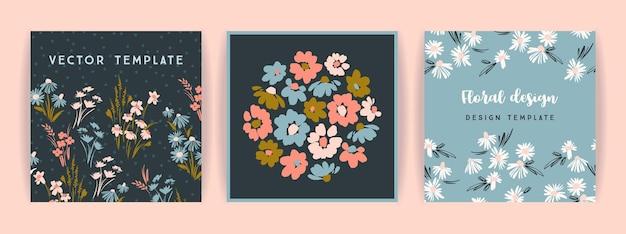 Zestaw wektor kwiatowy wzór. szablon do karty, plakatu, ulotki, wystroju domu i innych zastosowań.