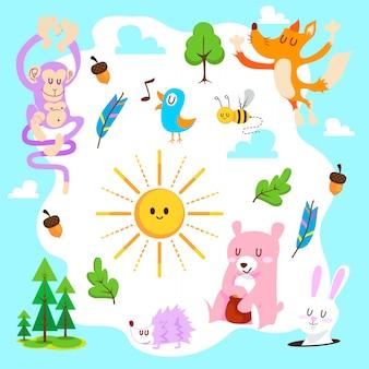 Zestaw wektor ładny lasów zwierzęcych