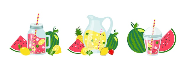 Zestaw wektor lemoniady. letni napój w szklanym dzbanku z plasterkiem cytryny, kostkami lodu, miętą i letnimi owocami. zdrowa słodka domowej roboty lemoniada z ilustracji arbuza