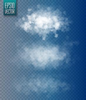 Zestaw wektor na białym tle chmur.