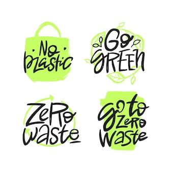 Zestaw wektor odręcznie cytaty motywacyjne. koncepcja zero odpadów.