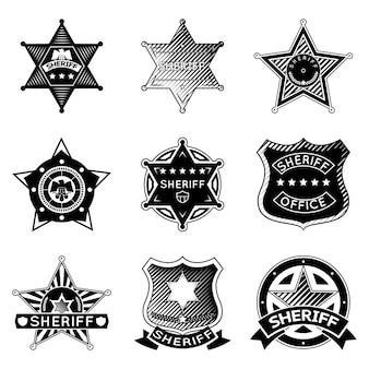 Zestaw wektor odznaki szeryfa lub marszałka i gwiazd.