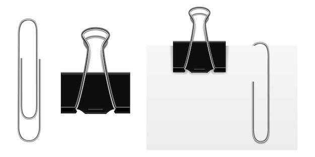 Zestaw wektor realistyczne czarne i srebrne spinacze do papieru.
