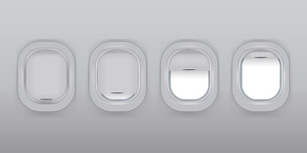 Zestaw wektor realistyczne okna samolotu z zasłonami w różnych pozycjach i puste miejsce wewnątrz