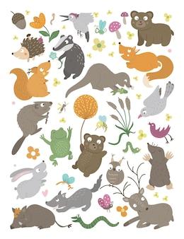 Zestaw wektor ręcznie rysowane płaskie zwierzęta leśne zestaw pionowy śmieszne tło scena leśna