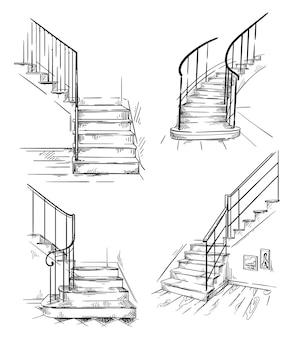 Zestaw wektor ręcznie rysowane schody, element wystroju wnętrz.